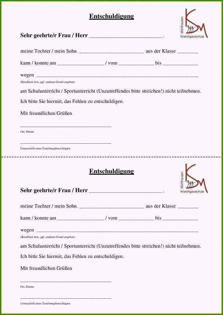 entschuldigung frr schule wegen krankheit entschuldigung schule vorlage pdf free vorlagen