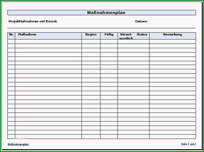 Großartig Maßnahmenplan Vorlage Zum Download Zeitblüten