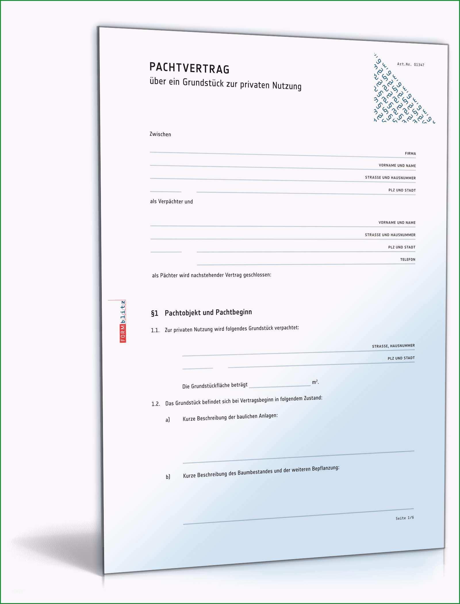pachtvertrag grundstueck