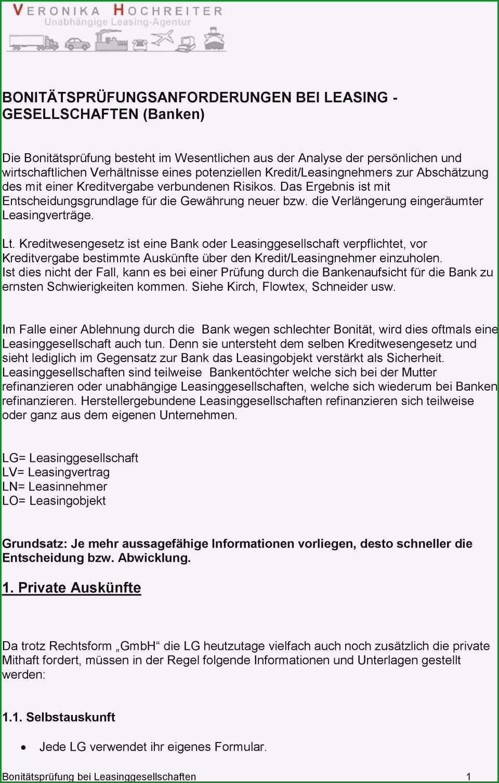 selbstauskunft vorlage bank