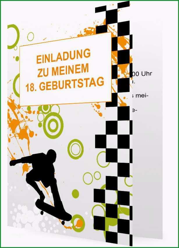 Vorlage Einladung 18 Geburtstag Schwarzes Karo Muster mit Skateboarder Orange Gruene Muster 85