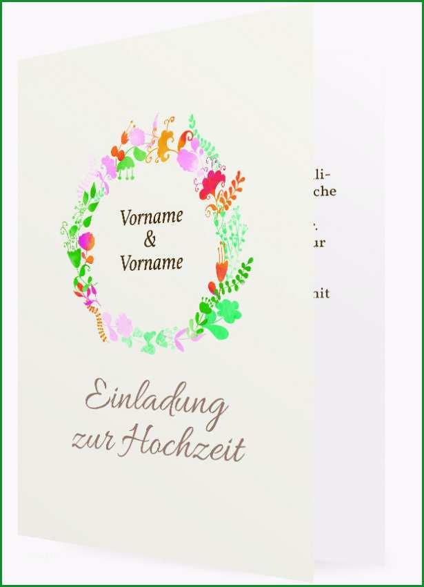 Vorlage fuer Hochzeitseinladung Blumenkranz gruen 2123
