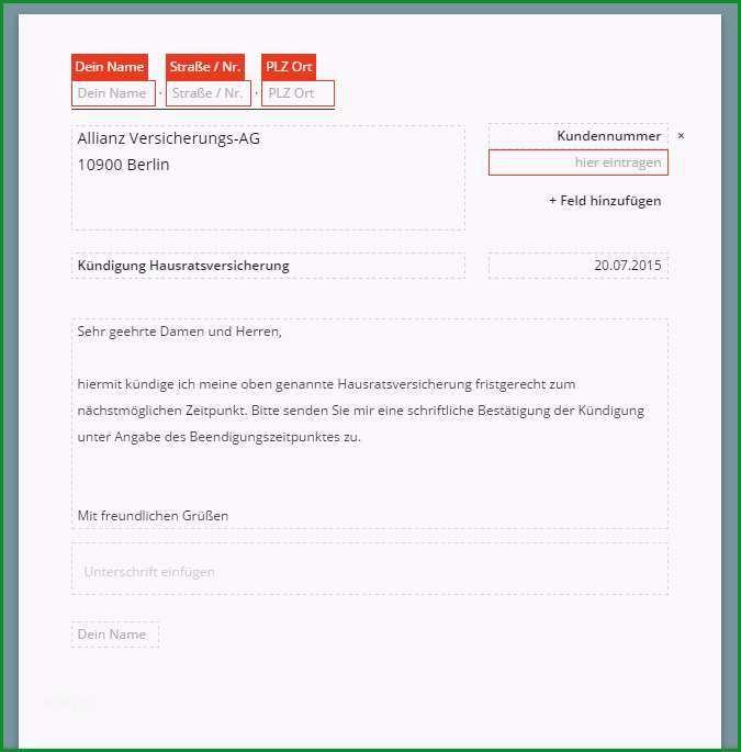 vorlage kundigung hausratversicherung