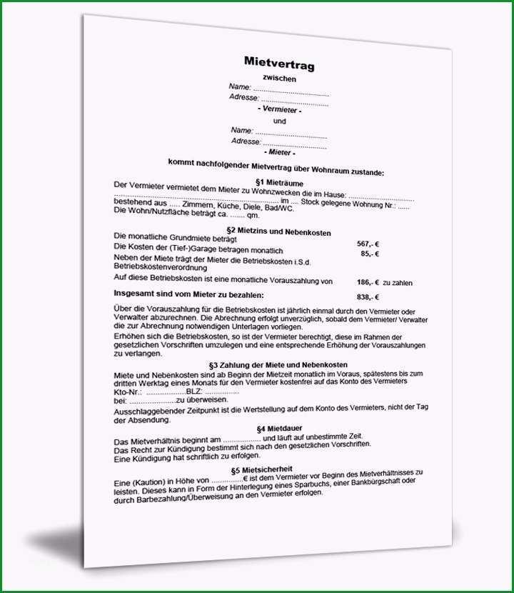 Großartig Wohnungsmietvertrag Vorlage