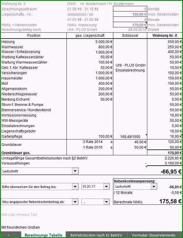 12 nebenkostenabrechnung vermieter vorlage