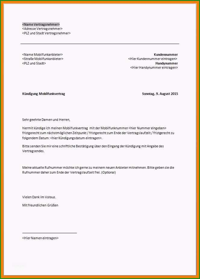 21 vodafone kundigungsschreiben vorlage