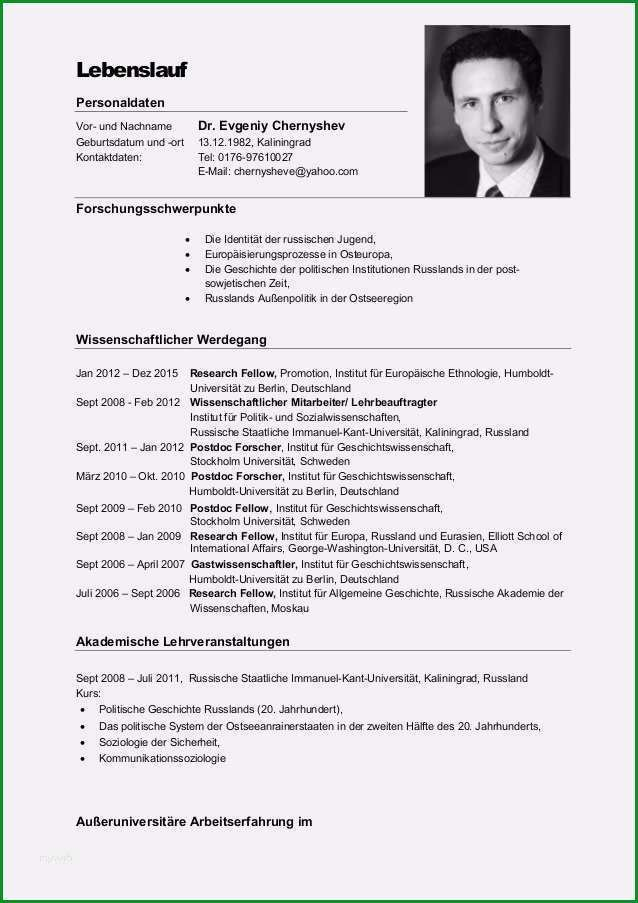 Hervorragen Akademischer Lebenslauf Publikationsliste Hochschule