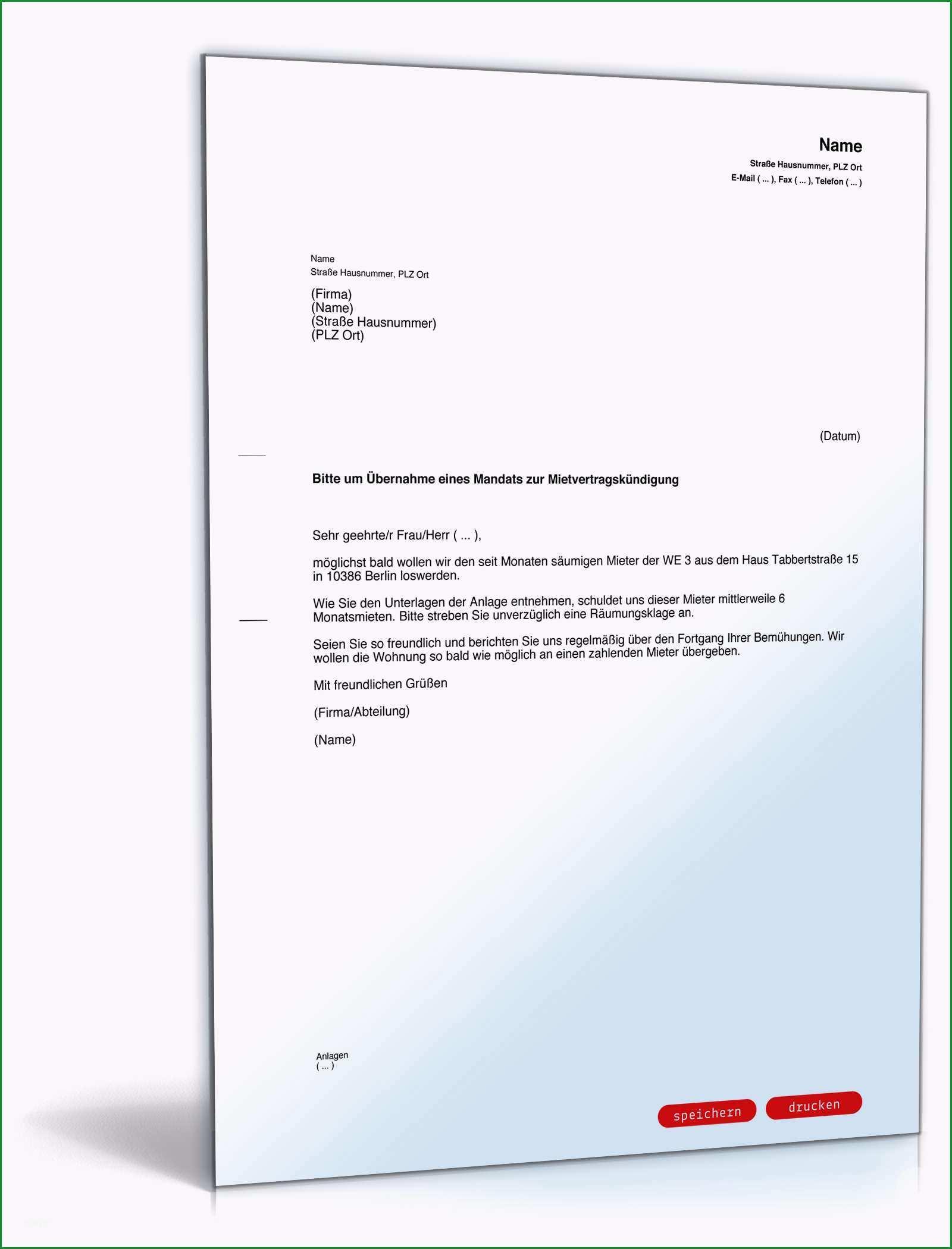 Hervorragen Beauftragung Rechtsanwalt Mietvertragskündigung