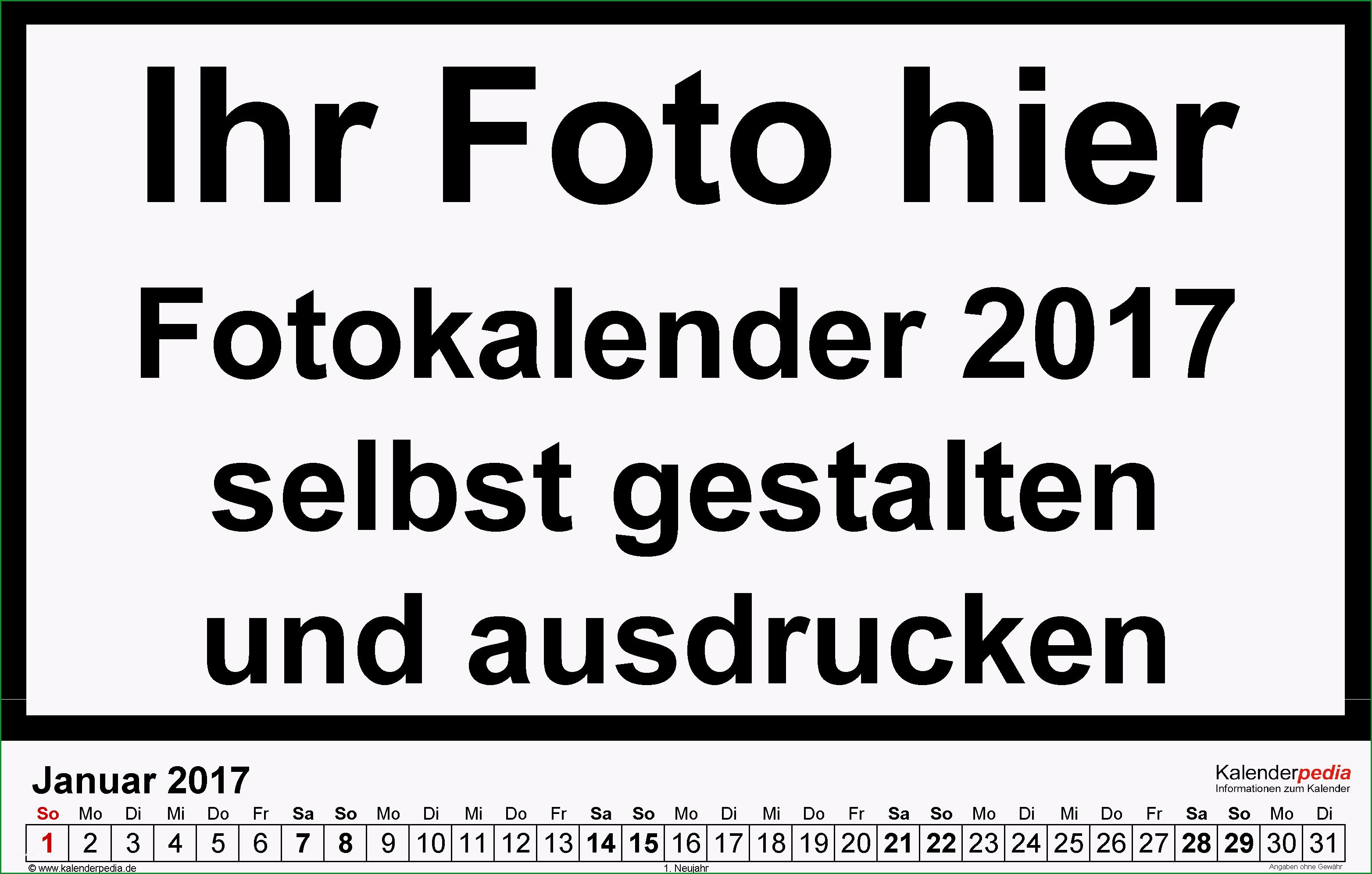 fotokalender 2017 word vorlagen