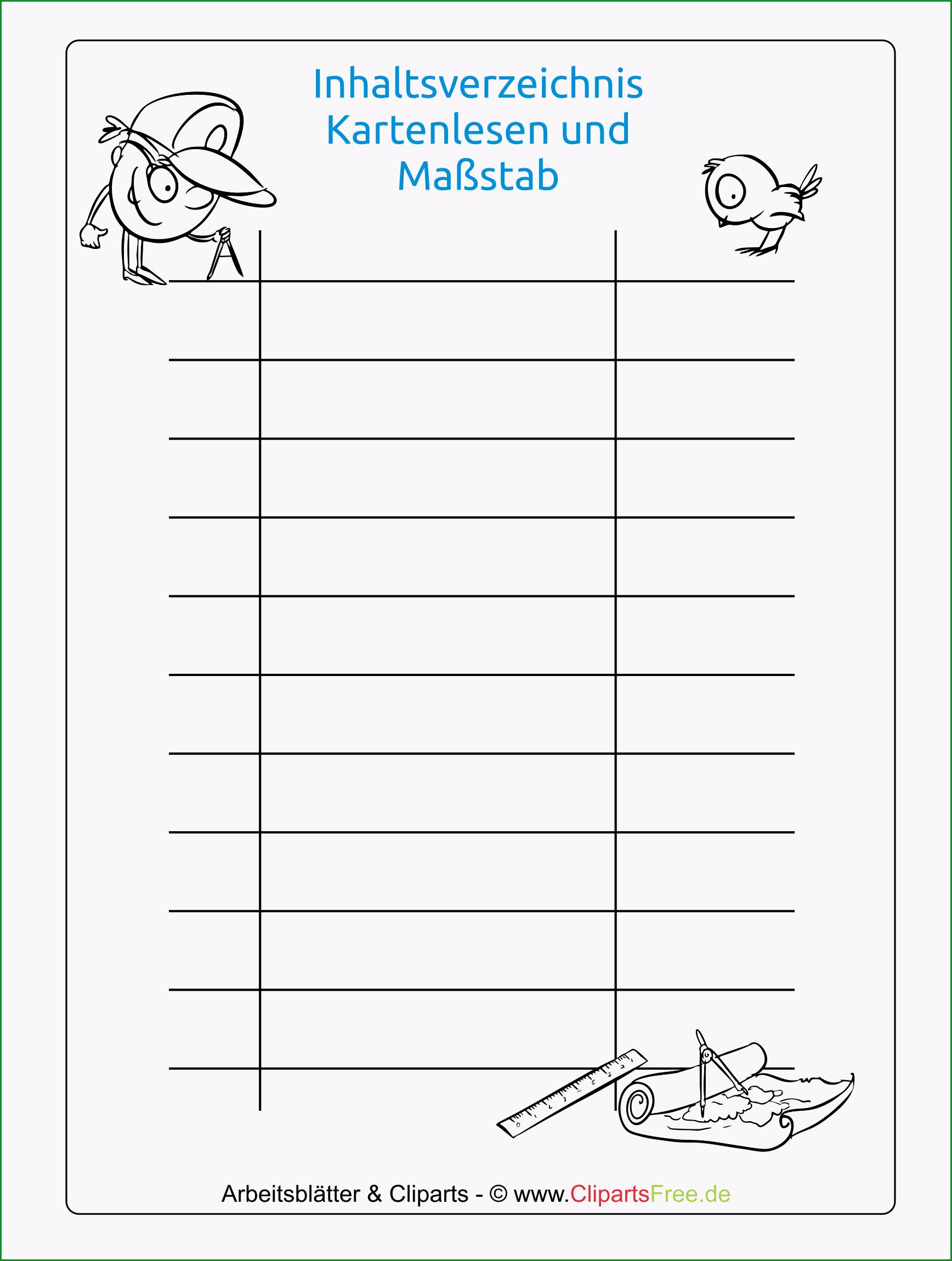 inhaltsverzeichnis für mappen zum ausdrucken kostenlos