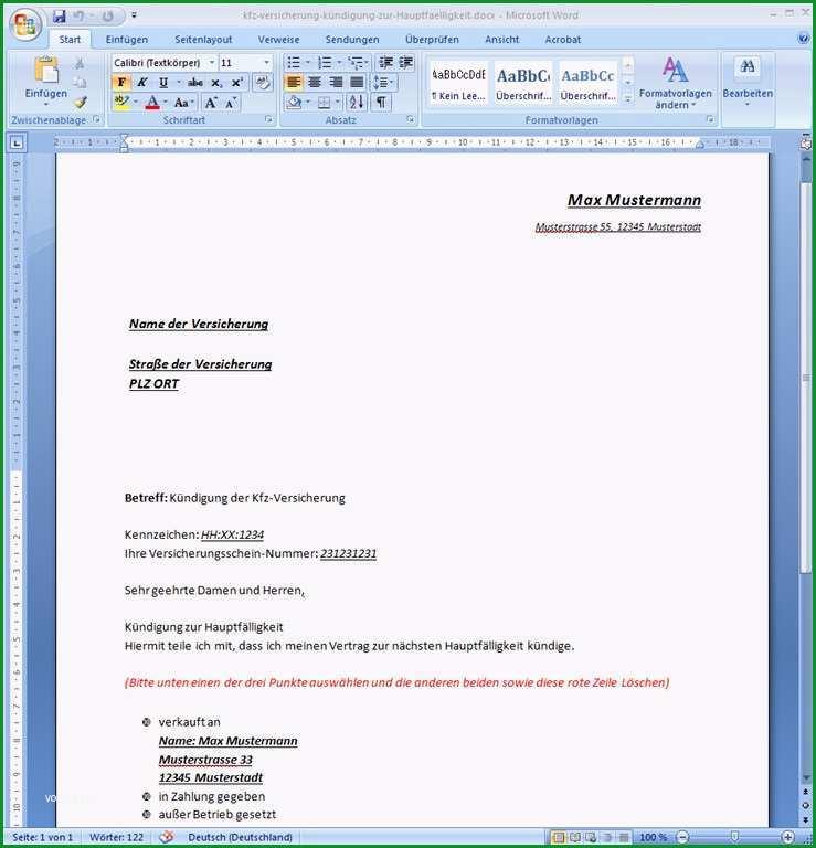 kundigungsschreiben kfz versicherung vorlage word bild 13 kundigung kfz versicherung muster doc