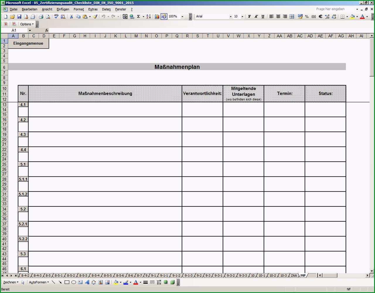 Qualitaetsmanagement ISO 9001 2015 Excel Auditcheckliste