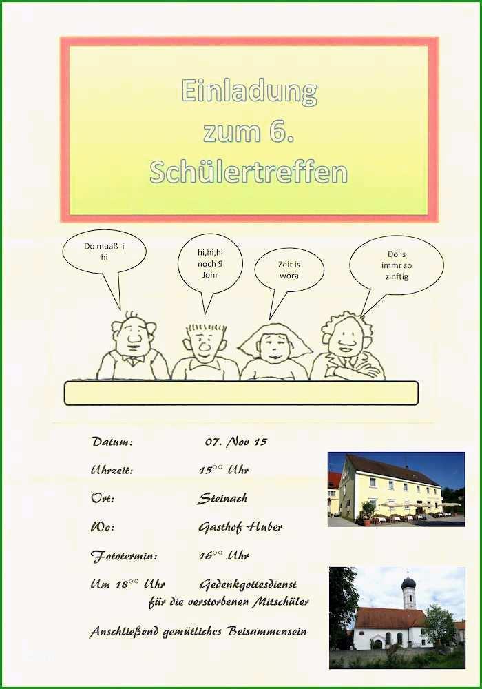 schon vorlage klassentreffen einladung und 1 4 muster einladung klassentreffen kostenlos