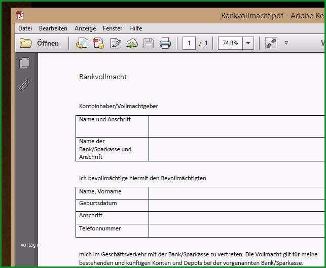 Vollmacht Bank PDF Vorlage