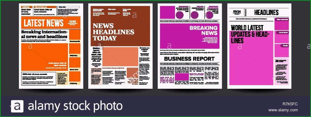 zeitung cover set vektor mit text und bildern taglich nachrichten text artikel drucken sie taste layout magazin mockup vorlage papier tabloid seite artikel zu brechen abbildung image