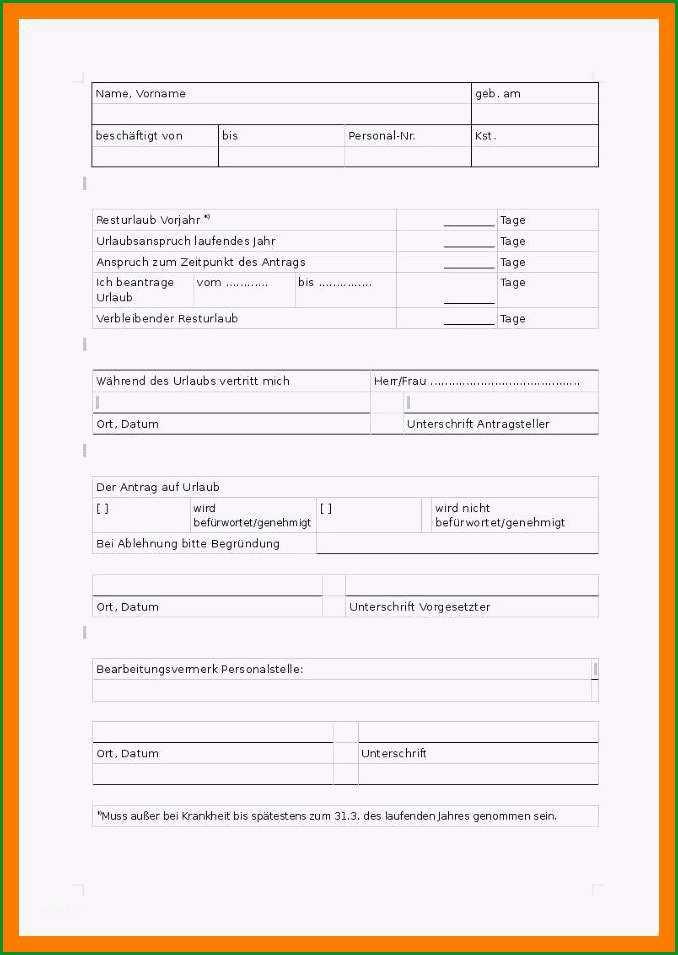 12 urlaubsantrag formular vorlage