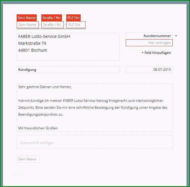 Faber Lotto kuendigen Vorlage