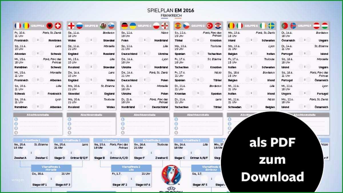 EM Spielplan 2016 als PDF zum Ausdrucken