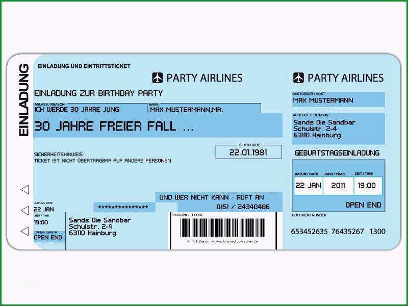 gut einladung flugticket vorlage fur 49 geburtstagseinladung ticket vorlage