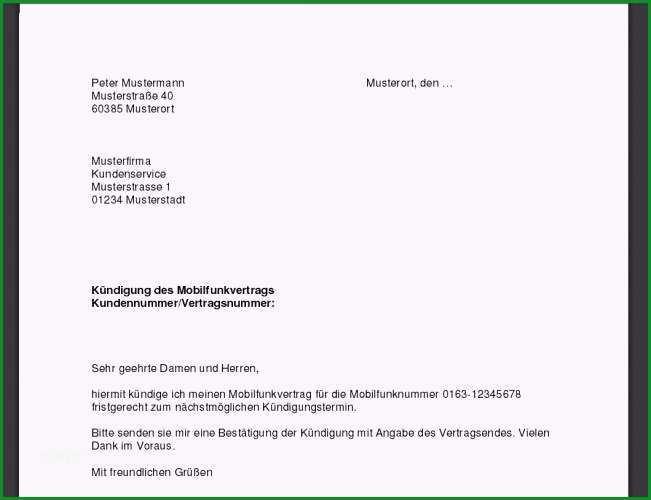 Phänomenal Kündigung Handyvertrag Vorlage Download