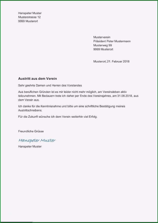 Phänomenal Kündigungsschreiben Verein Vorlage