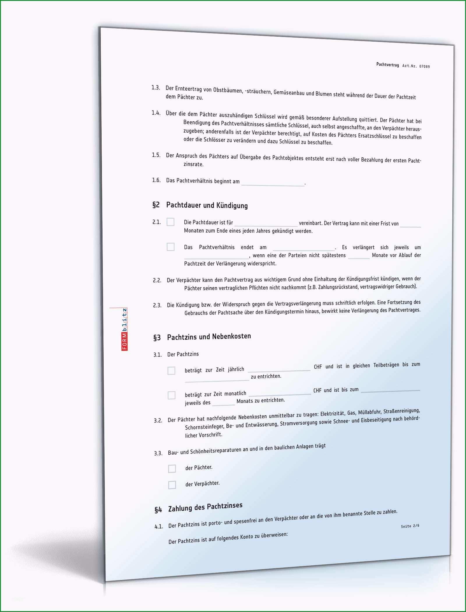 pachtvertrag grundstueck privatnutzung schweiz