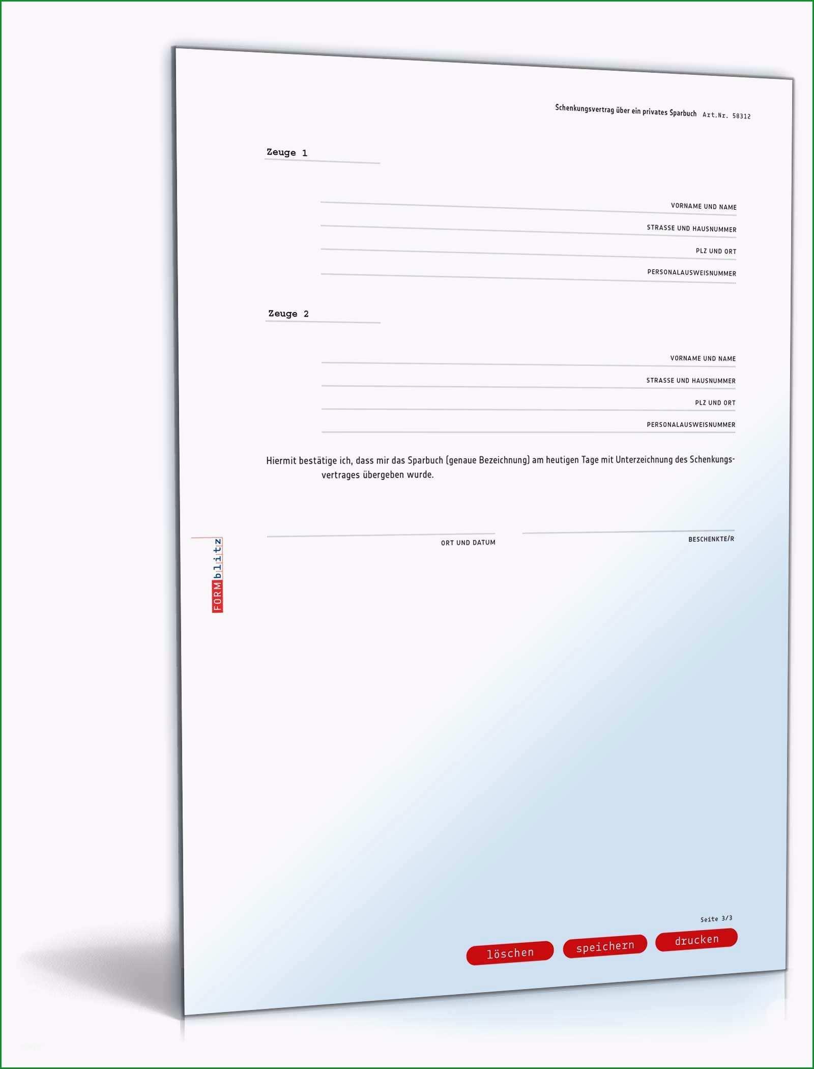 schenkungsvertrag ueber ein sparbuch