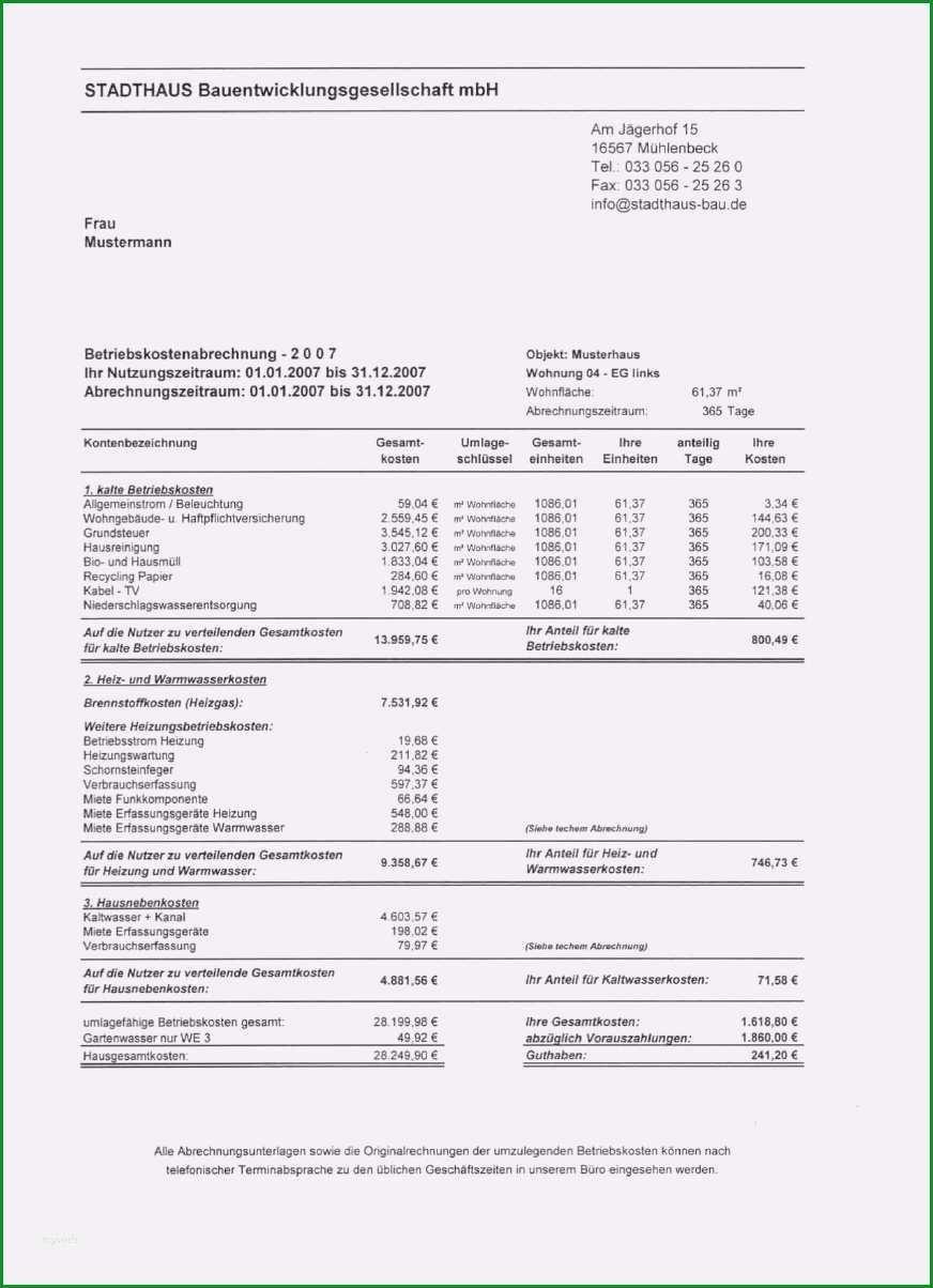 vermieter betriebskostenabrechnung vorlage angenehm nebenkostenabrechnung fur mieter erstellen wiso vermieter