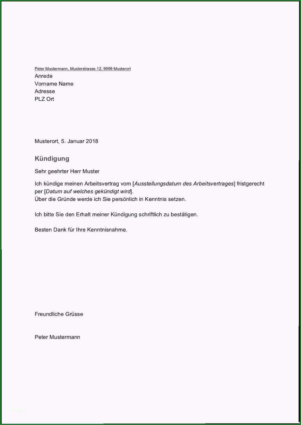 vorlage kundigungsschreiben arbeitnehmer wunderbar kundigung arbeitsvertrag beispiel lm63
