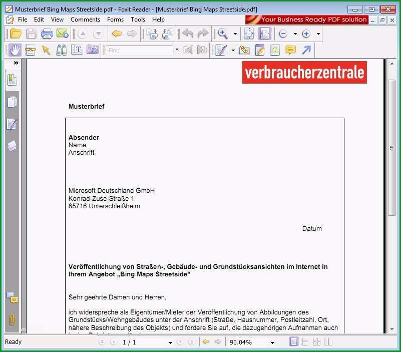 Widerspruch StreetSide PDF Vorlage