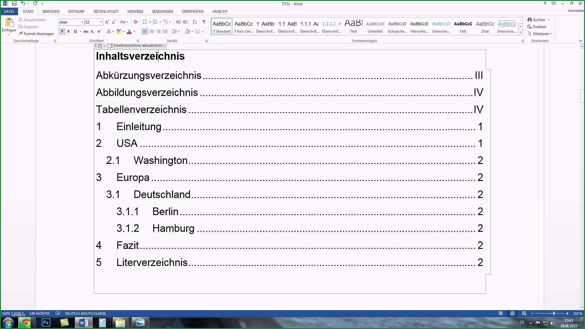 word automatisches inhaltsverzeichnis und seitenzahlen erstellen komplettkurs tutorial