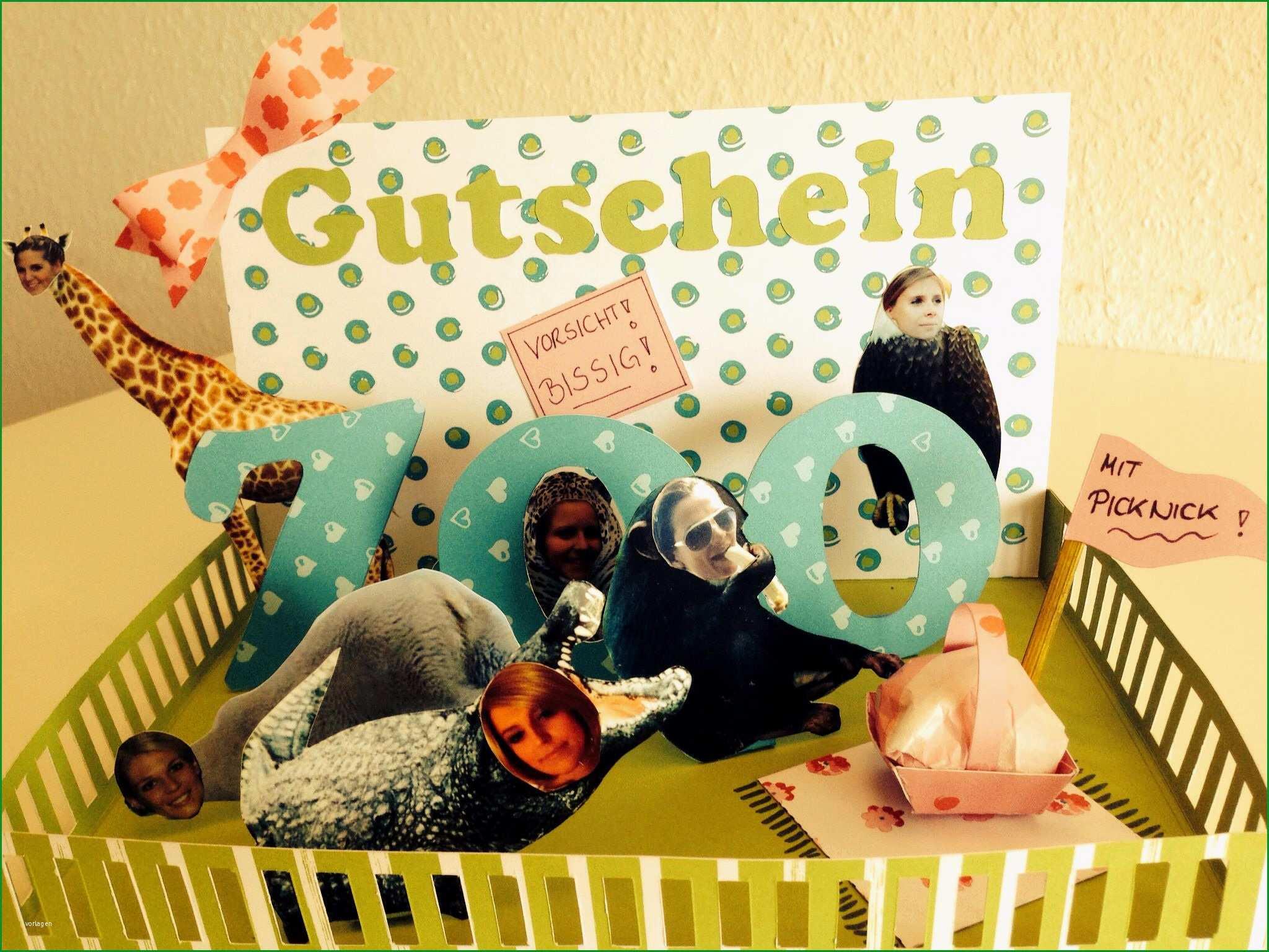 Phänomenal Zoo Gutschein In 3d Optik Bastelwastel