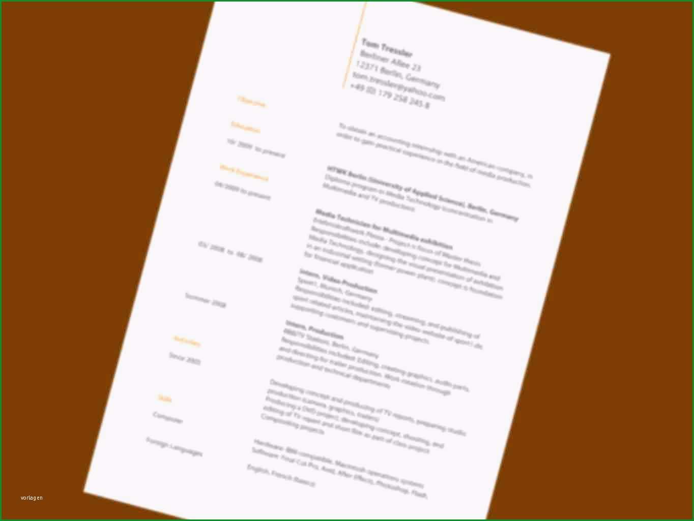 coverletter example cv englisch muster