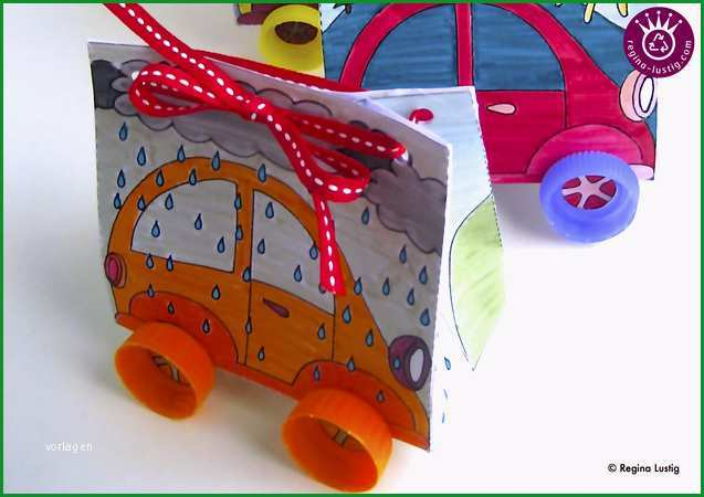 geschenkpackung auto ausmalbogen und anleitung basteln fuer kinder