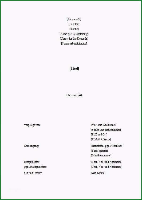 hausarbeit deckblatt vorlage word anschreiben 2