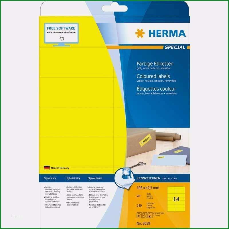 herma special etiketten vorlage einzigartig herma universal etiketten special 105 x 42 3 mm gelb