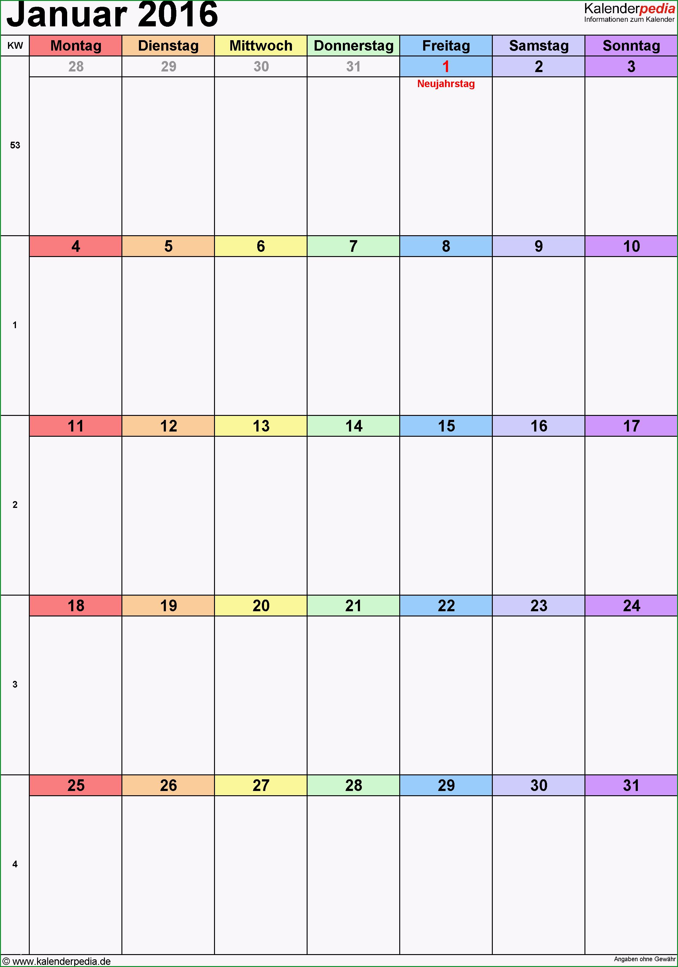 kalender januar 2016 word vorlagen
