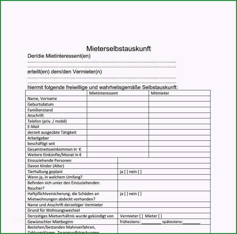 Schockieren Mieter Selbstauskunft formular Download