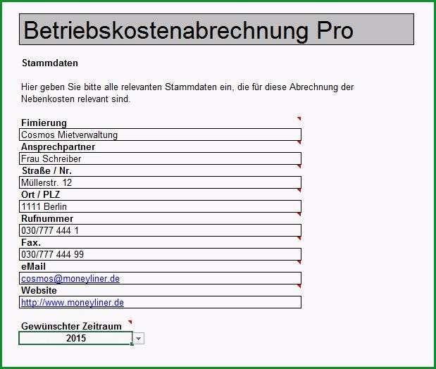 Schockieren Nebenkostenabrechnung Mit Excel Vorlage Zum Download