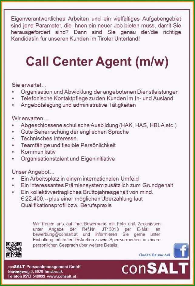 bewerbung call center vorlage
