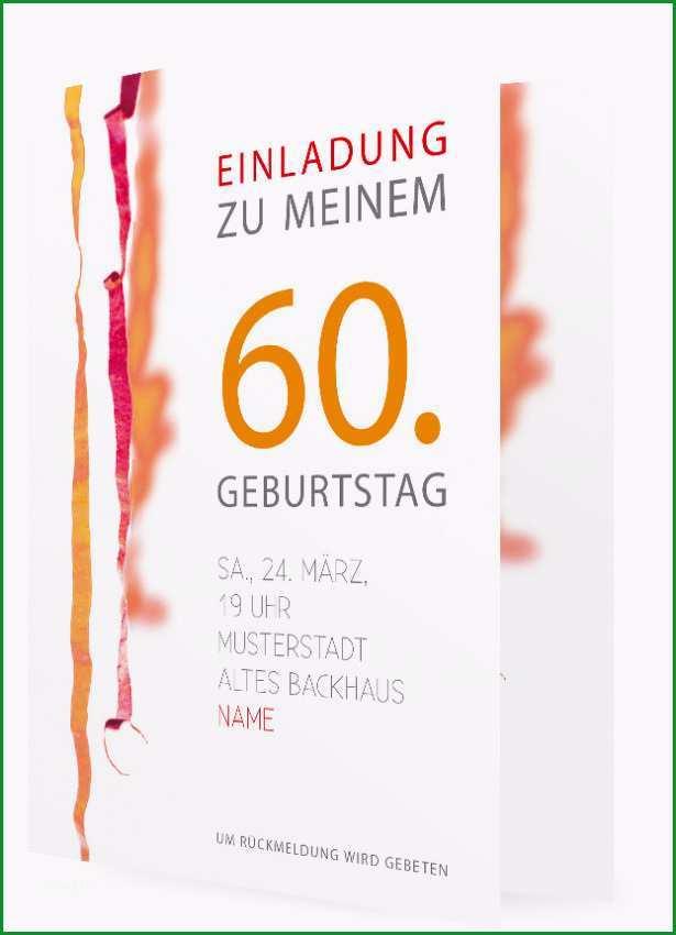 Vorlage fuer Geburtstagseinladung sechzig in Orange mit Luftschlangen 200