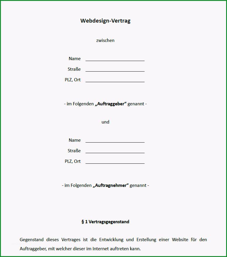 vorlage webdesign vertrag