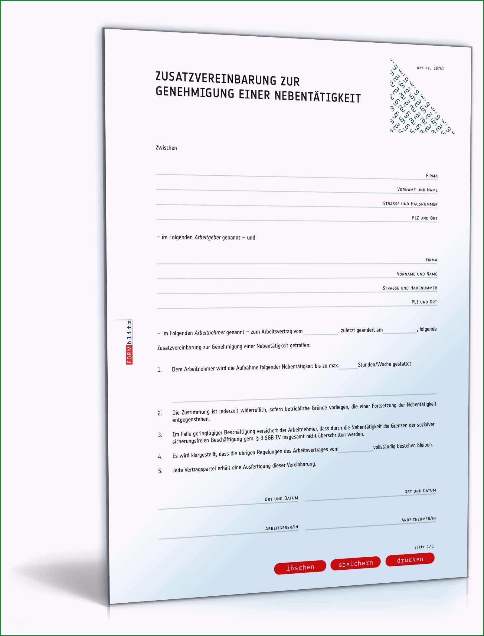zusatzvereinbarung zur genehmigung einer nebentaetigkeit
