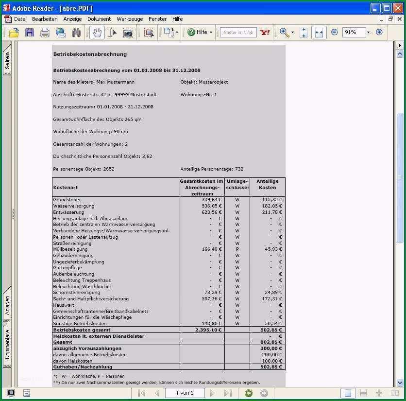 11 nebenkostenabrechnung excel vorlage kostenlos