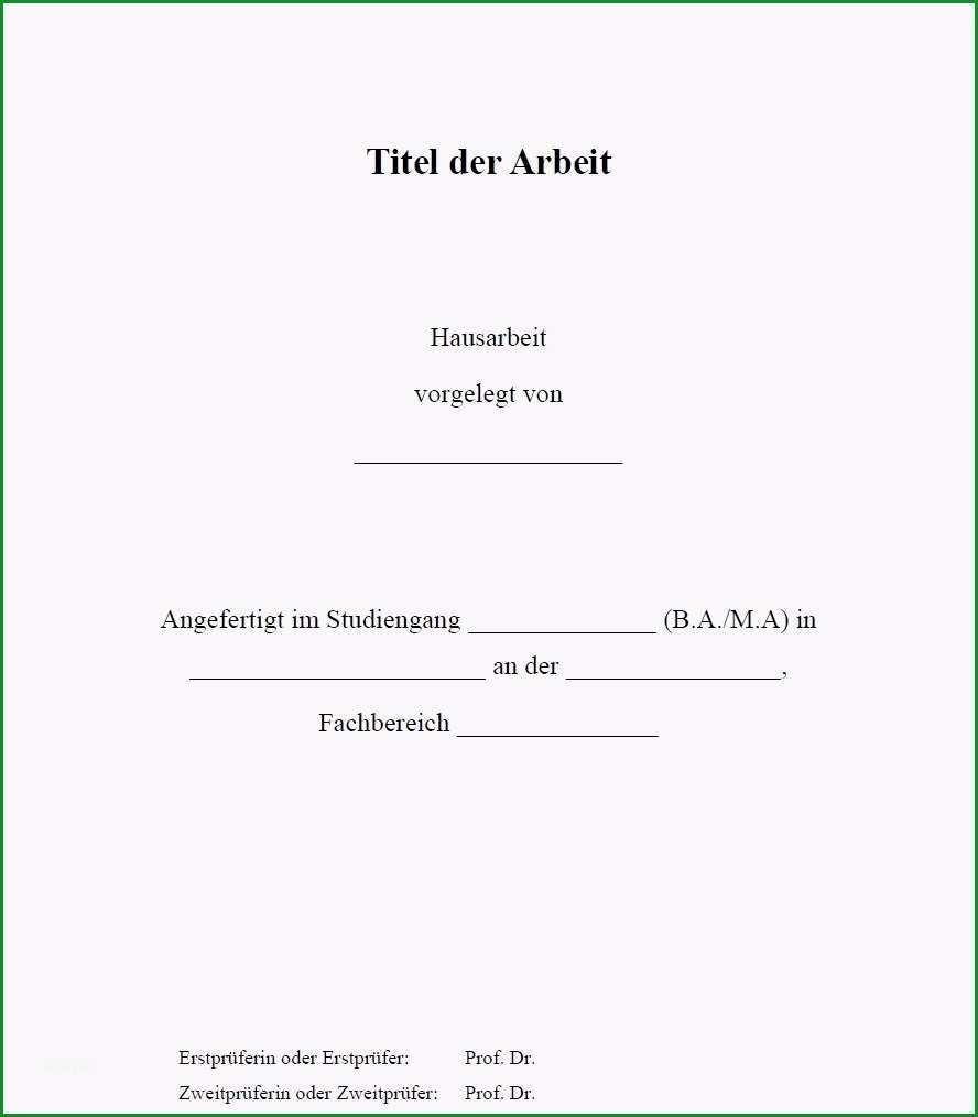 16 deckblatt vorlage word hausarbeit
