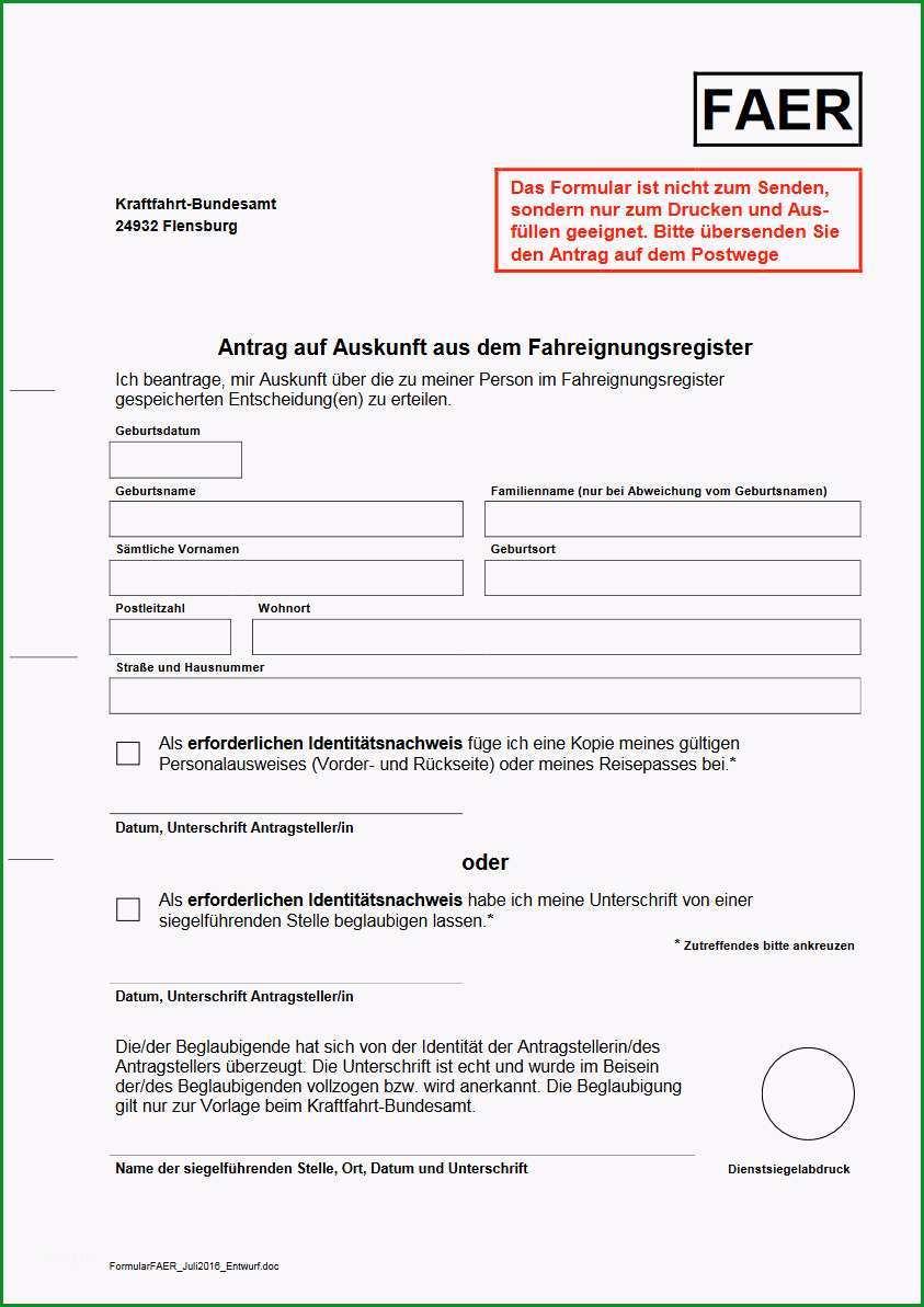 Auskunft ueber Punktestand in Flensburg Vorlage