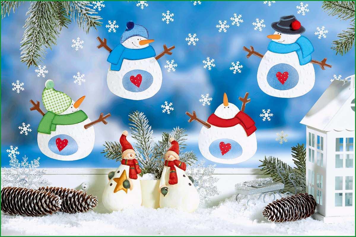 Selten Fröhliches Schneemann Fensterbild Familie