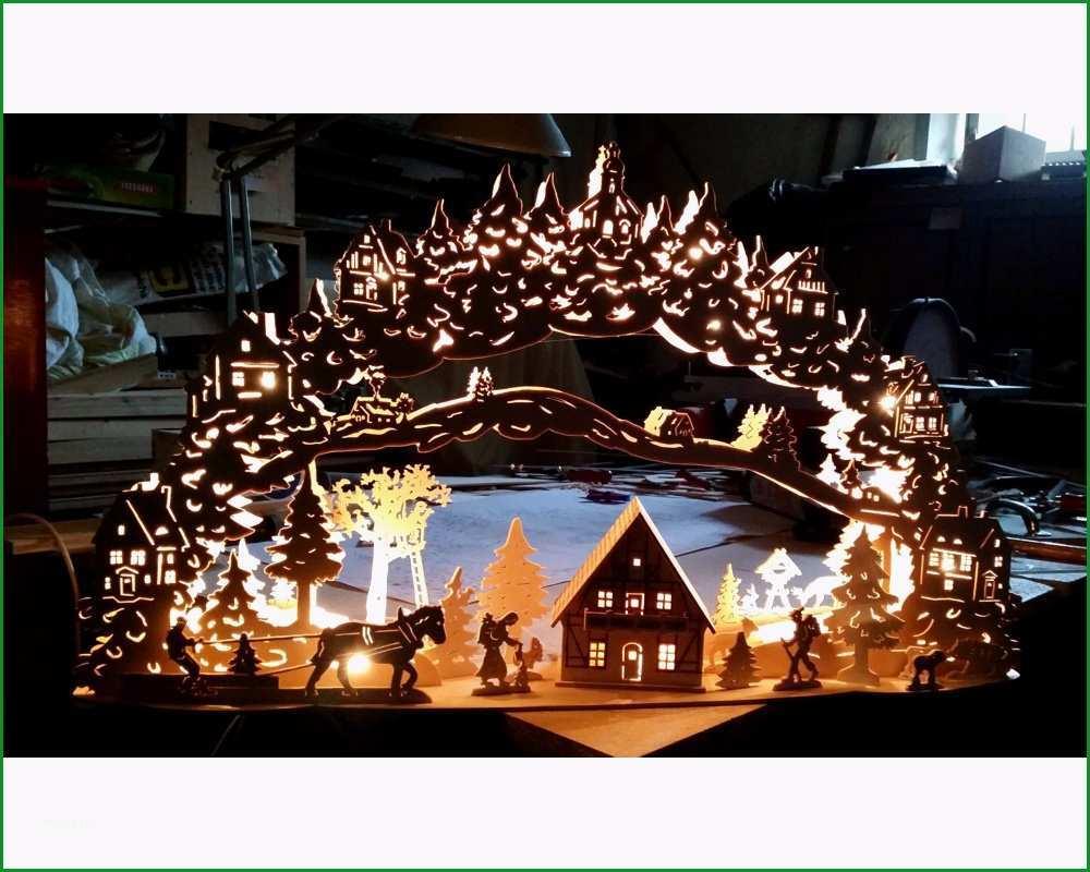 Grosser Schwibbogen Vorlage 3D Dorfpanorama mit Haus 64cm