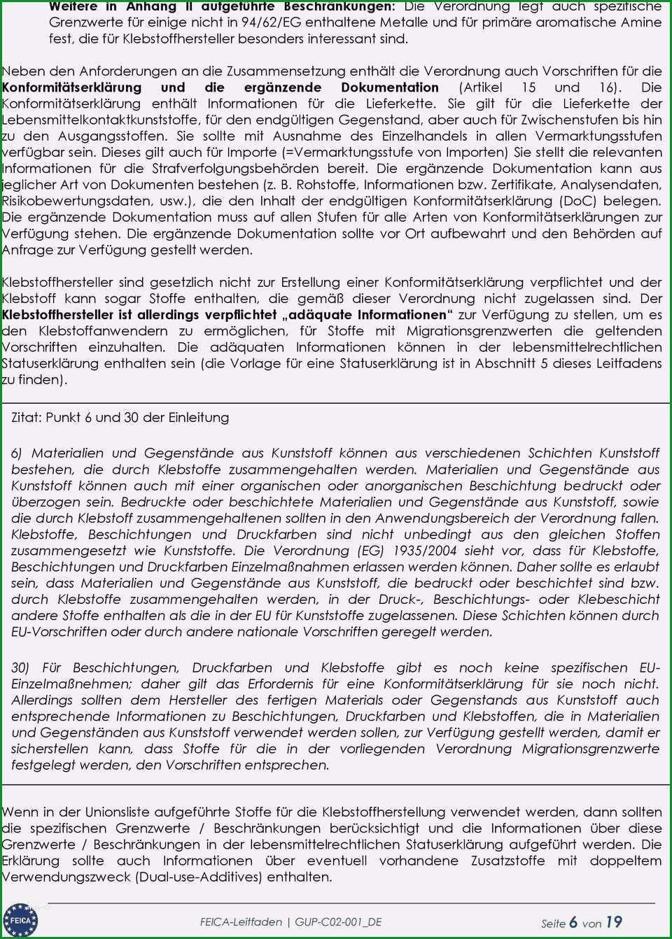 konformitatserklarung vorlage pdf elegant leitfaden fur eine lebensmittelrechtliche statuserklarung