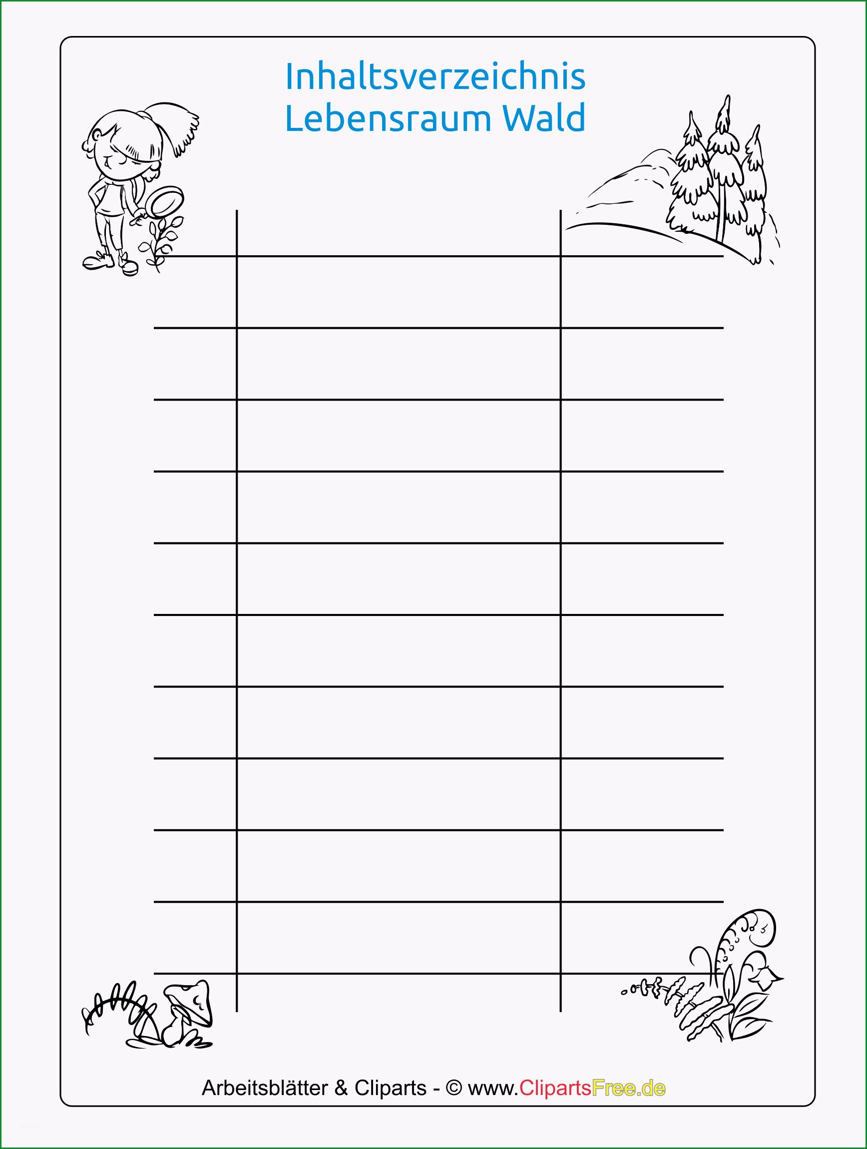 kostenlose inhaltsverzeichnis vorlage für schule